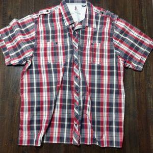 Mens XLT plaid short sleeve button up